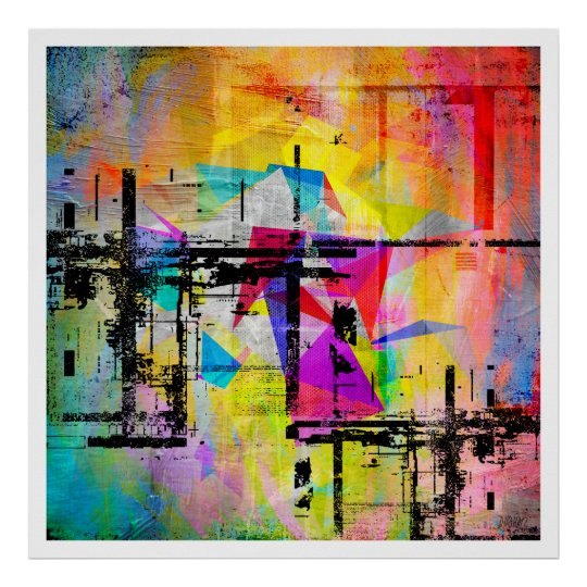 Modern Geometric Abstract Colourful Art Poster