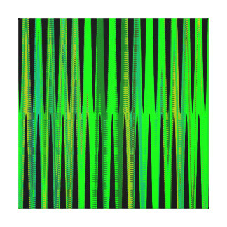 Modern Geometric Abstract Lime Green Black Wave Gallery Wrap Canvas