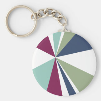 Modern Geometric Art Retro Color Burst Key Ring