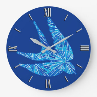 Modern Geometric Bird, Cobalt and Sky Blue Large Clock
