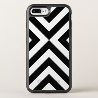 Modern Geometric Black and White Chevrons OtterBox Symmetry iPhone 7 Plus Case
