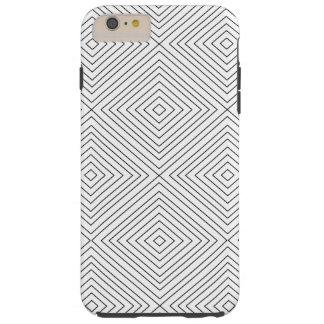 Modern Geometric Black Squares Pattern on White Co Tough iPhone 6 Plus Case