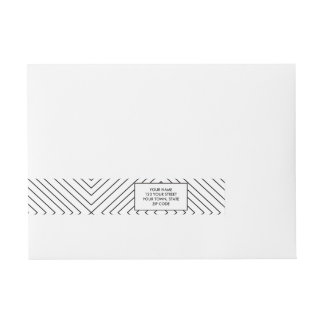 Modern Geometric Black Squares Pattern on White Co Wraparound Address Label