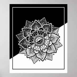 Modern Geometric Black & White Mandala Poster