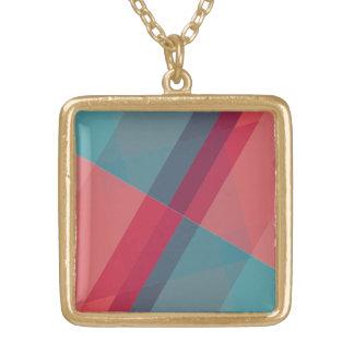Modern Geometric blocks gold tone pendant necklace