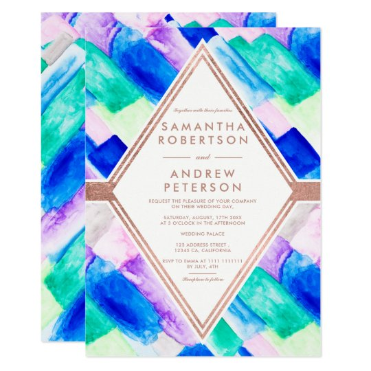 Modern geometric blue abstract watercolor wedding card