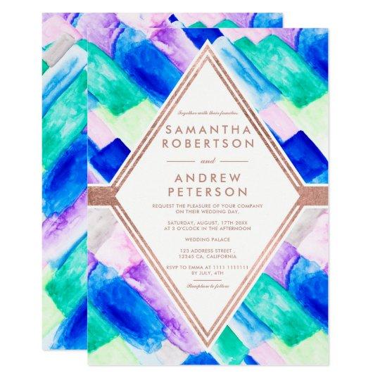 Modern geometric blue abstract watercolor wedding card