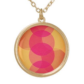Modern Geometric circle gold tone pendant necklace