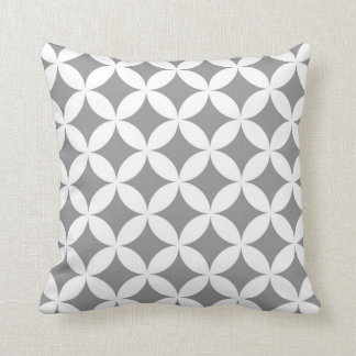 Modern Geometric Circles in Grey and White Throw Cushion
