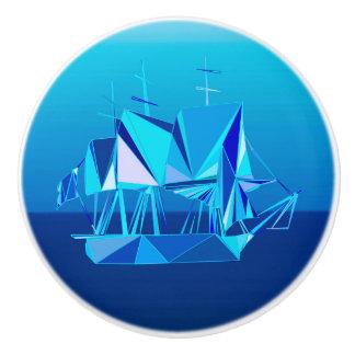 Modern Geometric Clipper Ship, Cobalt Blue Ceramic Knob
