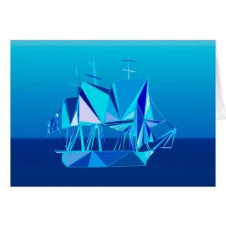 Modern Geometric Clipper Ship, Cobalt Blue Note Card