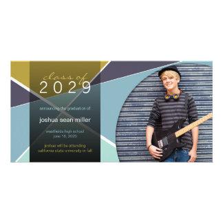 Modern Geometric Colorful Graduation Photo Card