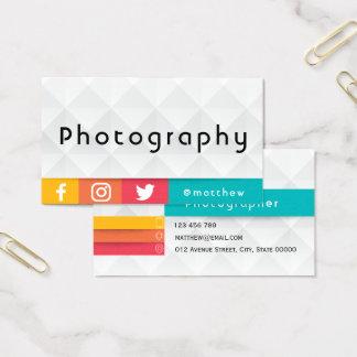 modern geometric colourful   Photographer Business Card