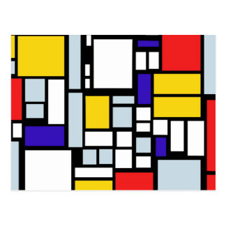 Modern Geometric Design, Primary Colors Postcard