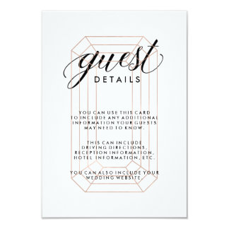 Modern Geometric Diamond Guest Information 9 Cm X 13 Cm Invitation Card