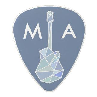 modern geometric electric-guitar blue polycarbonate guitar pick
