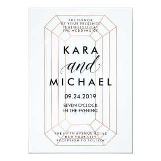 Modern Geometric Emerald Cut Diamond Shape Wedding 13 Cm X 18 Cm Invitation Card