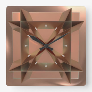Modern Geometric Faux Copper Square Wall Clock
