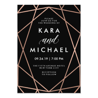 Modern Geometric Faux Rose Gold on Black Wedding Card