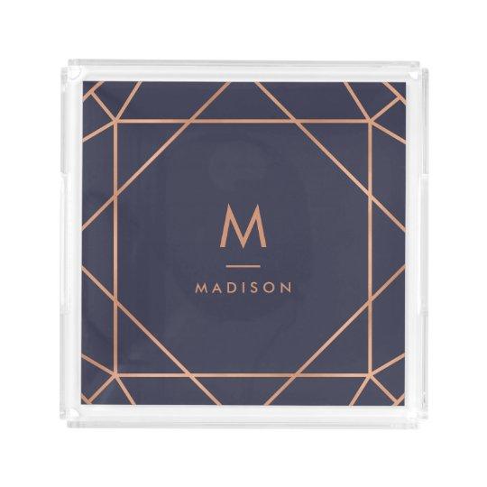 Modern Geometric | Faux Rose Gold on Midnight