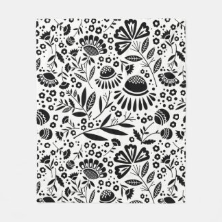Modern Geometric Garden Floral Black and White Fleece Blanket