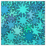 Modern Geometric Gears, Sea Blue and Turquoise Fabric