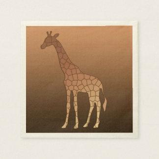 Modern Geometric Giraffe, Copper and Brown Disposable Napkins