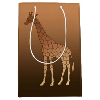 Modern Geometric Giraffe, Copper and Brown Medium Gift Bag