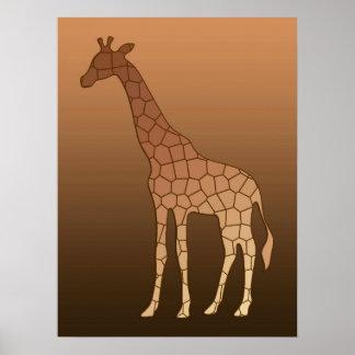 Modern Geometric Giraffe, Copper and Brown Poster