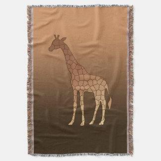 Modern Geometric Giraffe, Copper and Brown Throw Blanket