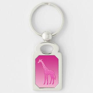Modern Geometric Giraffe, Fuchsia and Light Pink Key Ring