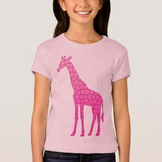 Modern Geometric Giraffe, Fuchsia and Light Pink T-Shirt