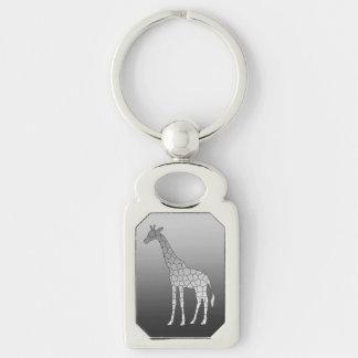 Modern Geometric Giraffe, Silver Gray / Grey Key Ring