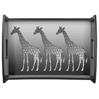 Modern Geometric Giraffe, Silver Gray / Grey Serving Tray