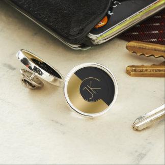 Modern Geometric Gold & Black Design Monogram Lapel Pin