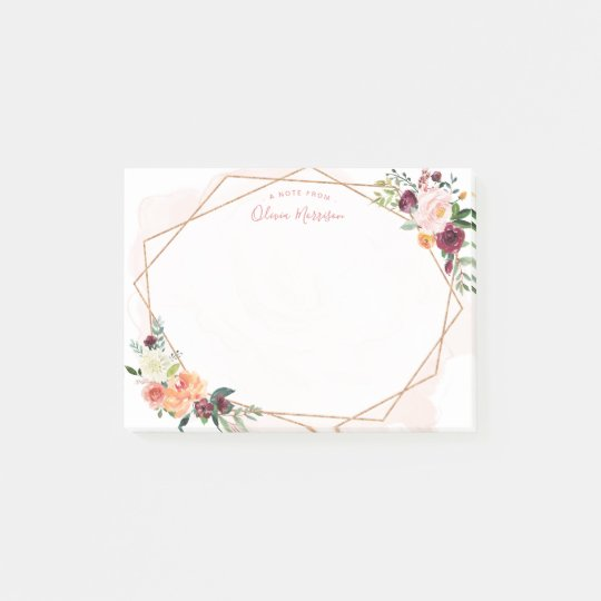 Modern Geometric Gold Frame Watercolor Floral Post-it Notes