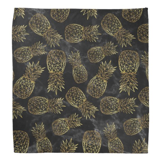 Modern geometric gold pineapples design bandana