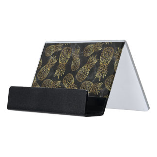 Modern geometric gold pineapples design desk business card holder