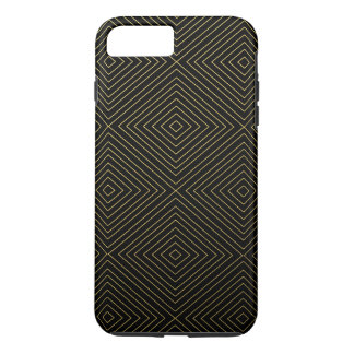 Modern Geometric Gold Squares Pattern on Black Col iPhone 7 Plus Case