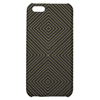 Modern Geometric Gold Squares Pattern on Black Col iPhone 5C Cover