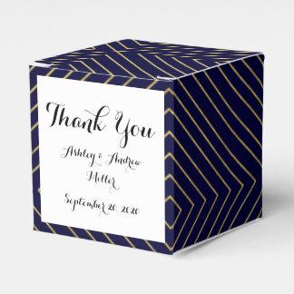 Modern Geometric Gold Squares Pattern on Navy Blue Favour Box
