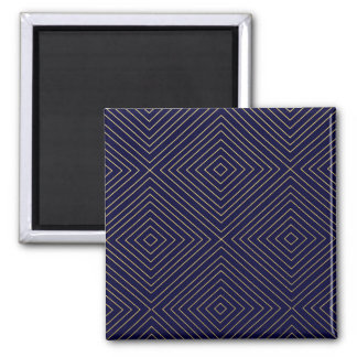 Modern Geometric Gold Squares Pattern on Navy Blue Magnets