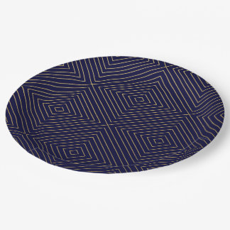 Modern Geometric Gold Squares Pattern on Navy Blue Paper Plate