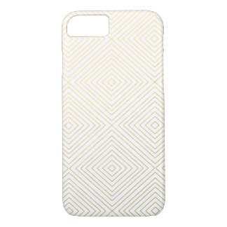 Modern Geometric Gold Squares Pattern on White Col iPhone 7 Case