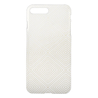 Modern Geometric Gold Squares Pattern on White Col iPhone 7 Plus Case