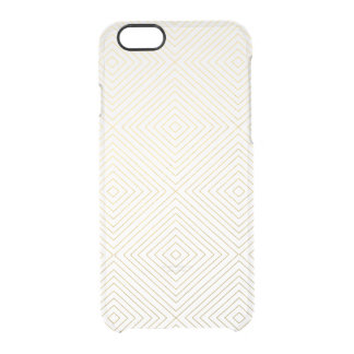 Modern Geometric Gold Squares Pattern on White Col Uncommon Clearly™ Deflector iPhone 6 Case