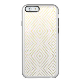 Modern Geometric Gold Squares Pattern on White Col Incipio Feather® Shine iPhone 6 Case
