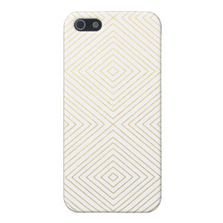 Modern Geometric Gold Squares Pattern on White Col Case For iPhone 5/5S