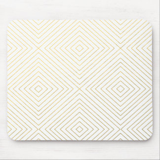 Modern Geometric Gold Squares Pattern on White Col Mouse Mat