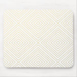Modern Geometric Gold Squares Pattern on White Col Mouse Pad